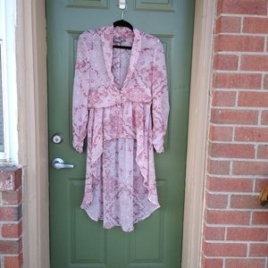 NY&C Sheer Floral High Low Blouse